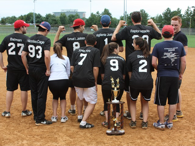 Runners-up Softball for Humanity show off their names