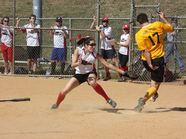 Yellow Journalists score on a close play at the plate
